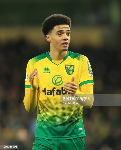 Jamal Lewis of Norwich City celebrates victory during the Premier League match between Norwich City and Leicester City at Carrow Road on February 28,...