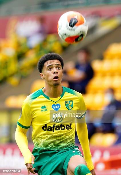 Jamal Lewis of Norwich City controls the ball during the Premier League match between Norwich City and West Ham United at Carrow Road on July 11,...