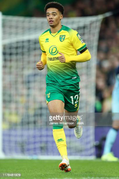 Jamal Lewis of Norwich City during the Premier League match between Norwich City and Manchester United at Carrow Road on October 27, 2019 in Norwich,...