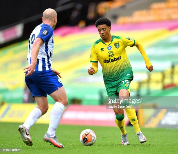 Jamal Lewis of Norwich City is challenged by Aaron Mooy of Brighton and Hove Albion during the Premier League match between Norwich City and Brighton...