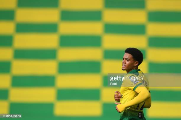 Jamal Lewis of Norwich City looks on during the FA Cup Quarter Final match between Norwich City and Manchester United at Carrow Road on June 27, 2020...