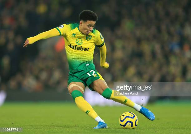 Jamal Lewis of Norwich City shoots during the Premier League match between Norwich City and Tottenham Hotspur at Carrow Road on December 28, 2019 in...