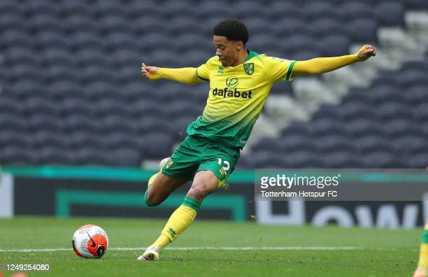 Jamal Lewis of Norwich during the friendly practice match between Tottenham Hotspur and Norwich City at Tottenham Hotspur Stadium on June 12, 2020 in...