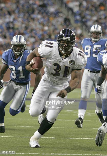 Jamal Lewis of the Baltimore Ravens carries the ball during the game against the Detroit Lions at Ford Field on October 9 2005 in Detroit Michigan...