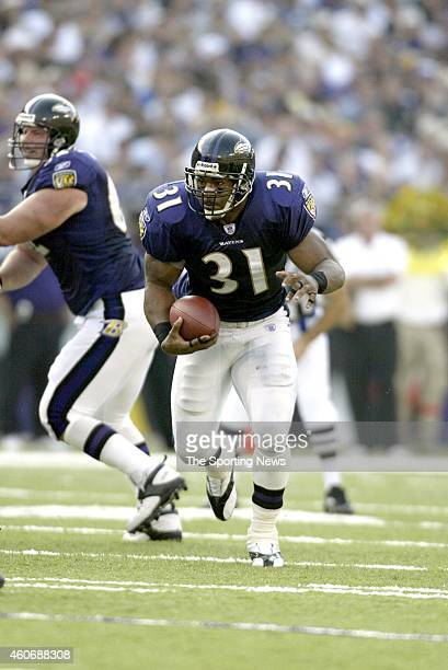 Jamal Lewis of the Baltimore Ravens in action during a game against the Jacksonville Jaguars on October 26 2003 at the Raymond James Stadium in...