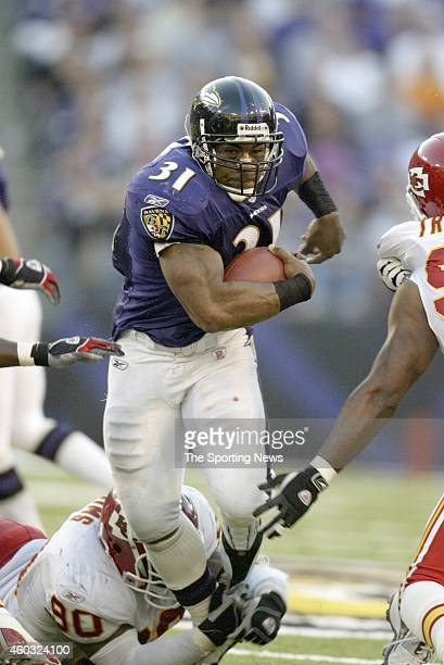 Jamal Lewis of the Baltimore Ravens runs with the ball during a game against the Kansas City Chiefs on September 28 2003 at MT Bank Stadium in...