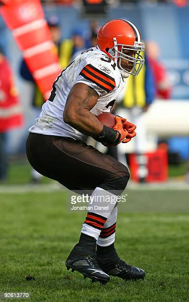 Jamal Lewis of the Cleveland Browns runs against the Chicago Bears at Soldier Field on November 1 2009 in Chicago Illinois The Bears defeated the...