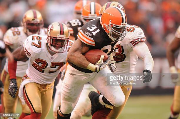 Jamal Lewis of the Cleveland Browns runs with the ball during a game against the San Francisco 49ers on December 30 2007 at the Cleveland Browns...