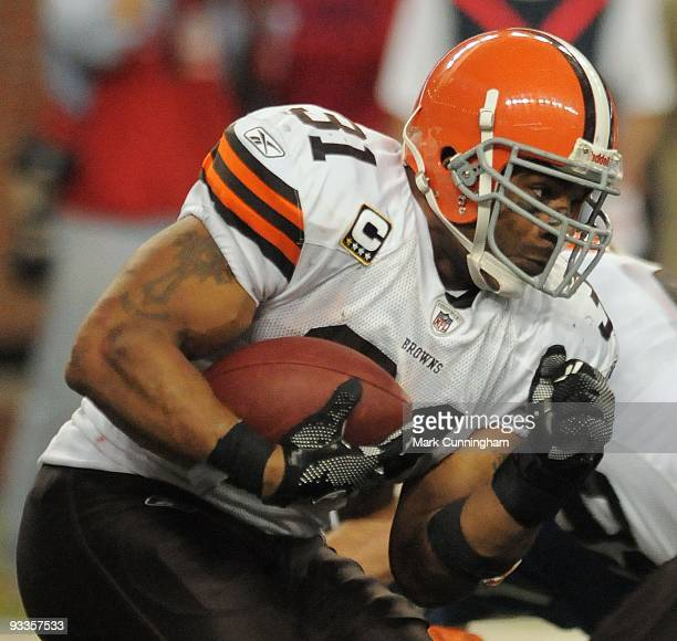 Jamal Lewis of the Cleveland Browns runs with the football against the Detroit Lions at Ford Field on November 22 2009 in Detroit Michigan The Lions...