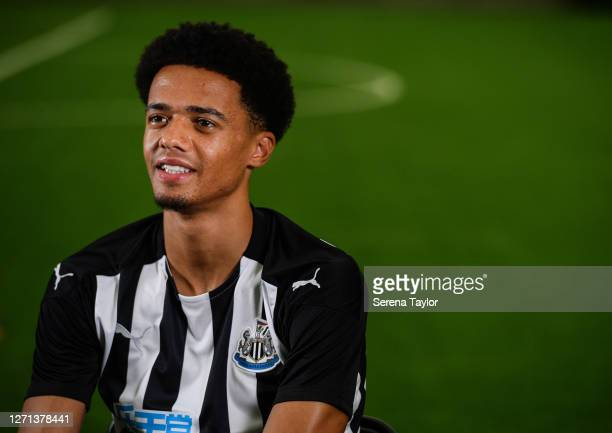 Jamal Lewis smiles during his first club interview at the Newcastle United Training Centre on September 08, 2020 in Newcastle upon Tyne, England.