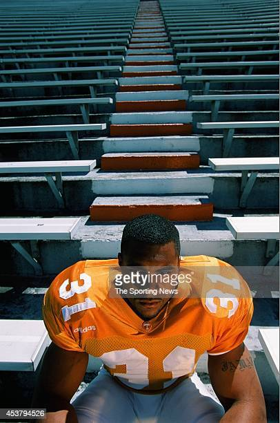 Jamal Lewis the running back for Tennessee Volunteers poses for a photo in Knoxville Tennessee on April 1 1998
