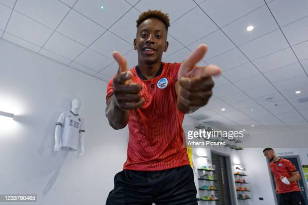 Jamal Lowe makes gestures to the camera for the Swansea City Report for Training at The Fairwood Training Ground on July 03, 2020 in Swansea, Wales.