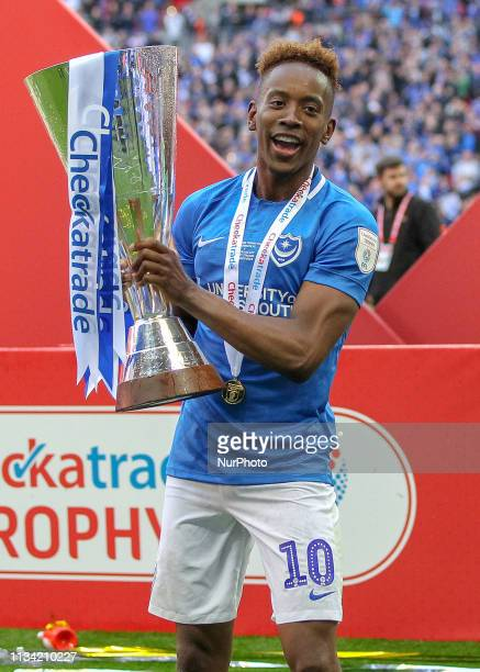 Jamal Lowe of Portsmouth celebrates after Portsmouth won the Checkatrade Trophy Final between Portsmouth and Sunderland at Wembley Stadium London on...