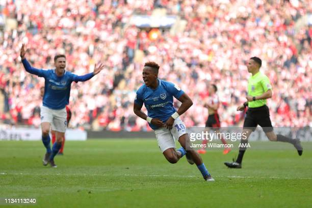 Jamal Lowe of Portsmouth celebrates after scoring a goal to make it 2-1 during the Checkatrade Trophy Final between Sunderland AFC and Portsmouth FC...
