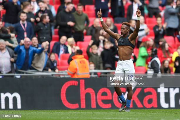 Jamal Lowe of Portsmouth celebrates after scoring a goal to make it 21 during the Checkatrade Trophy Final between Sunderland AFC and Portsmouth FC...