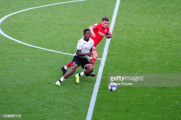 Jamal Lowe of Swansea City in action during the Sky Bet Championship match between Swansea City and Birmingham City at the Liberty Stadium on...