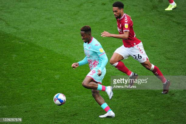 Jamal Lowe of Swansea City in action during the Sky Bet Championship match between Bristol City and Swansea City at Ashton Gate on October 24 2020 in...