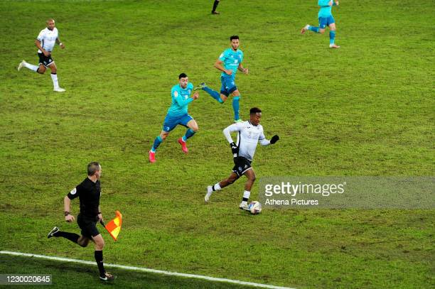 Jamal Lowe of Swansea City in action during the Sky Bet Championship match between Swansea City and AFC Bournemouth at the Liberty Stadium on...