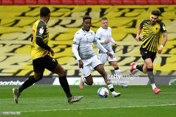 Jamal Lowe of Swansea City in action during the Sky Bet Championship match between Watford and Swansea City at Vicarage Road on May 08, 2021 in...