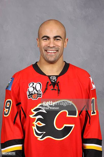 Jamal Mayers of the Calgary Flames poses for his official team headshot on February 2, 2010 at the Pengrowth Saddledome in Calgary, Alberta, Canada.