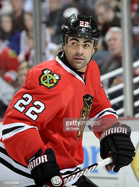 Jamal Mayers of the Chicago Blackhawks looks across the ice during the NHL game against the Nashville Predators on March 25, 2012 at the United...