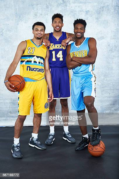Jamal Murray and Malik Beasley of the Denver Nuggets poses with Brandon Ingram of the Los Angeles Lakers for a group portrait during the 2016 NBA...