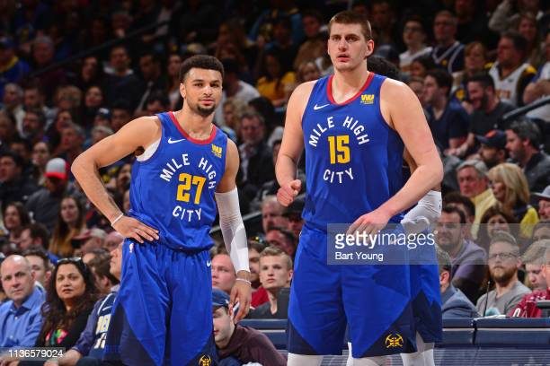 Jamal Murray and Nikola Jokic of the Denver Nuggets as seen during the game against the Portland Trail Blazers on April 5 2019 at the Pepsi Center in...