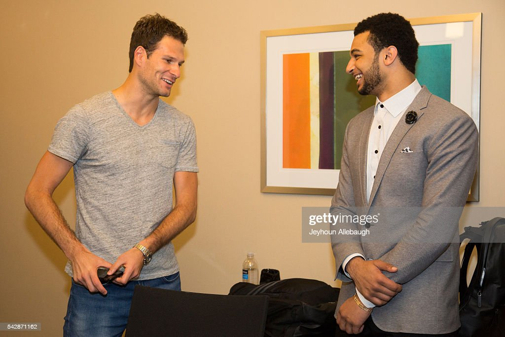 Jamal Murray meets with Asmir Begovic of the English soccer club Chelsea on June 22, 2016 in New York City.