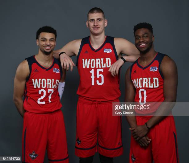 Jamal Murray Nikola Jokic and Emmanuel Mudiay of the West Team pose for a portrait prior to the BBVA Compass Rising Stars Challenge 2017 on February...