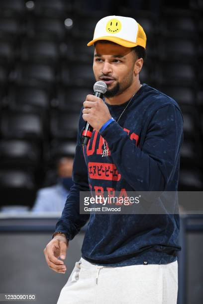 Jamal Murray of the Denver Nuggets addresses the arena before the game against the Portland Trail Blazers during Round 1, Game 1 of the the 2021 NBA...