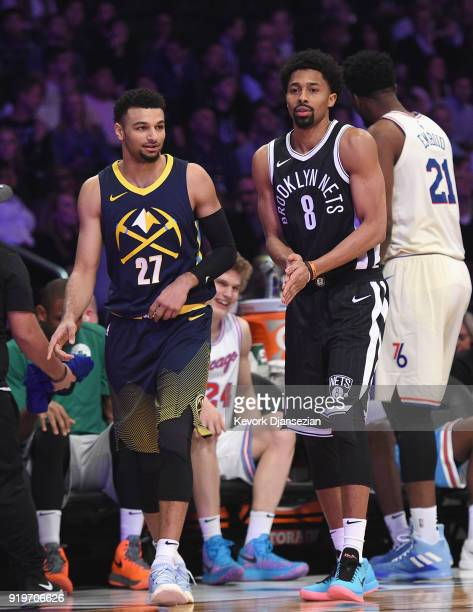 LOS Jamal Murray of the Denver Nuggets and Spencer Dinwiddie of the Brooklyn Nets compete in the 2018 Taco Bell Skills Challenge at Staples Center on...