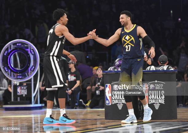 Jamal Murray of the Denver Nuggets and Spencer Dinwiddie of the Brooklyn Nets compete in the 2018 Taco Bell Skills Challenge at Staples Center on...
