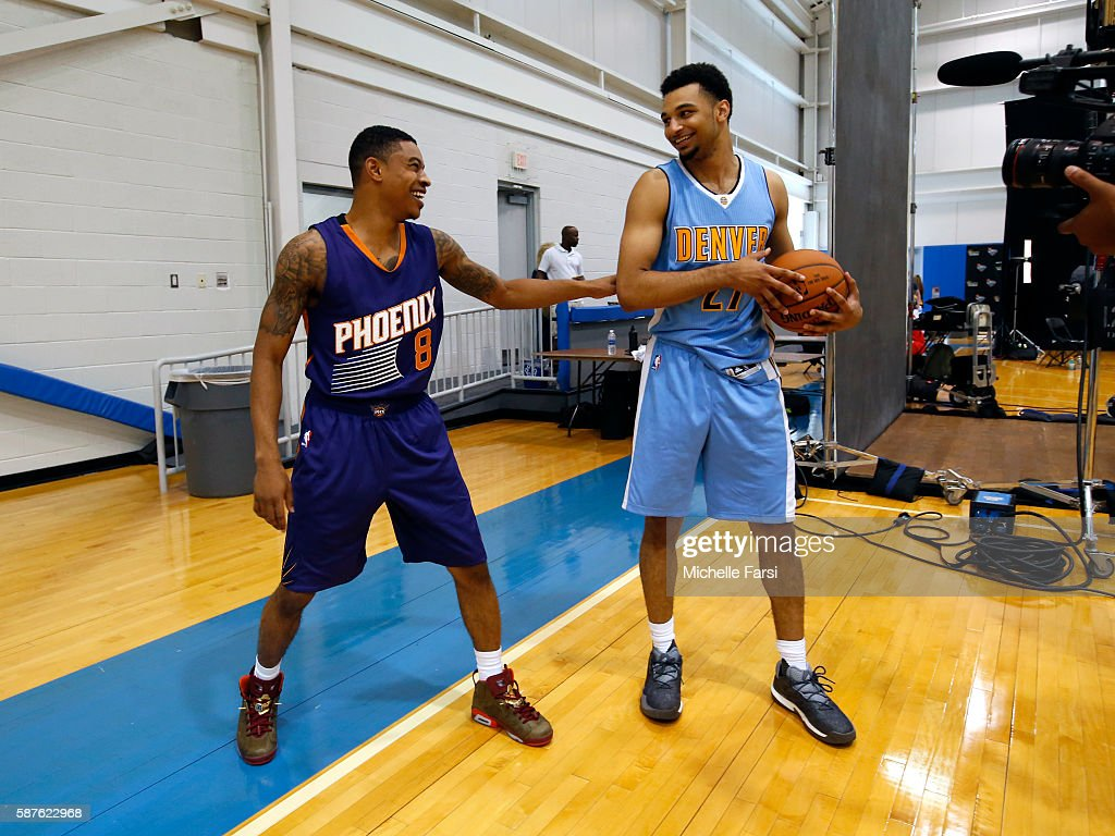 Jamal Murray #27 of the Denver Nuggets and Tyler Ulis #8 of the Phoenix Suns during the 2016 NBA rookie photo shoot on August 7, 2016 at the Madison Square Garden Training Facility in Tarrytown, New York.