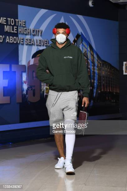 Jamal Murray of the Denver Nuggets arrives before the game against the Phoenix Suns during Round 2, Game 4 of the 2021 NBA Playoffs on June 13, 2021...