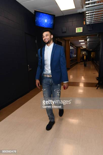 Jamal Murray of the Denver Nuggets arrives before the game against the Sacramento Kings on March 11 2018 at the Pepsi Center in Denver Colorado NOTE...