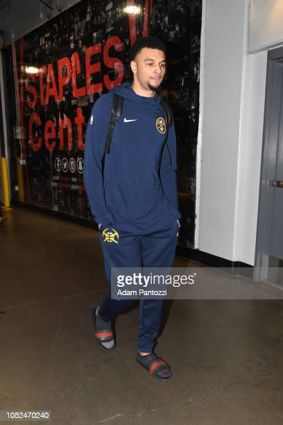 Jamal Murray of the Denver Nuggets arrives to the arena before a game against the LA Clippers on October 17 2018 at Staples Center in Los Angeles...