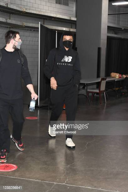 Jamal Murray of the Denver Nuggets arrives to the arena before the game against the Portland Trail Blazers during Round 1, Game 6 of the 2021 NBA...