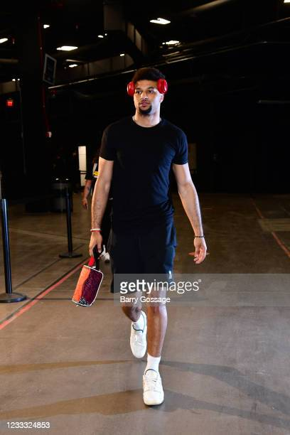 Jamal Murray of the Denver Nuggets arrives to the arena before the game against the Phoenix Suns during Round 2, Game 1 of the 2021 NBA Playoffs on...