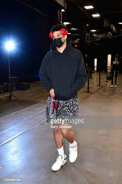 Jamal Murray of the Denver Nuggets arrives to the arena before the game against the Phoenix Suns during Round 2, Game 2 of the 2021 NBA Playoffs on...
