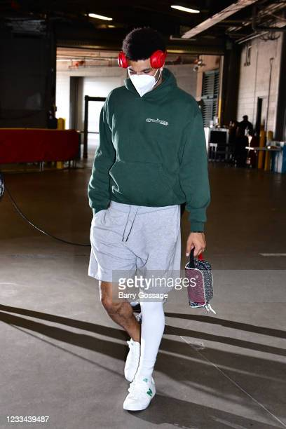 Jamal Murray of the Denver Nuggets arrives to the arena before the game against the Phoenix Suns during Round 2, Game 4 of the 2021 NBA Playoffs on...