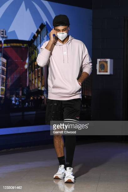 Jamal Murray of the Denver Nuggets arrives to the arena prior to the game against the Portland Trail Blazers during Round 1, Game 2 of the NBA 2021...