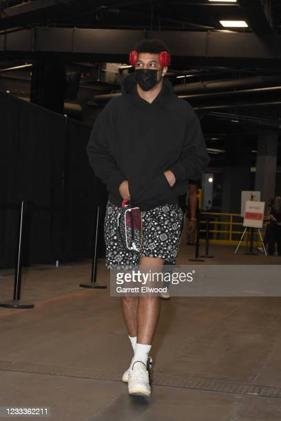 Jamal Murray of the Denver Nuggets arrives to the arena prior to the game against the Phoenix Suns during Round 2, Game 2 of the NBA Playoffs on June...
