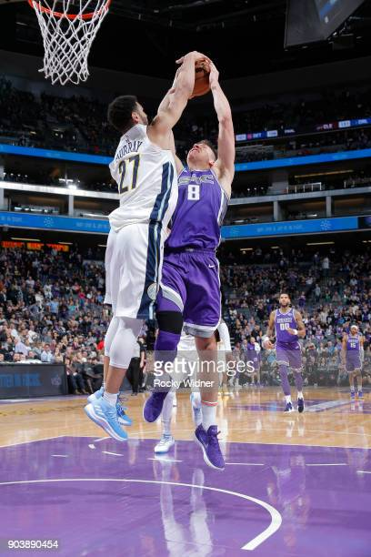 Jamal Murray of the Denver Nuggets blocks the shot of Bogdan Bogdanovic of the Sacramento Kings on January 6 2018 at Golden 1 Center in Sacramento...
