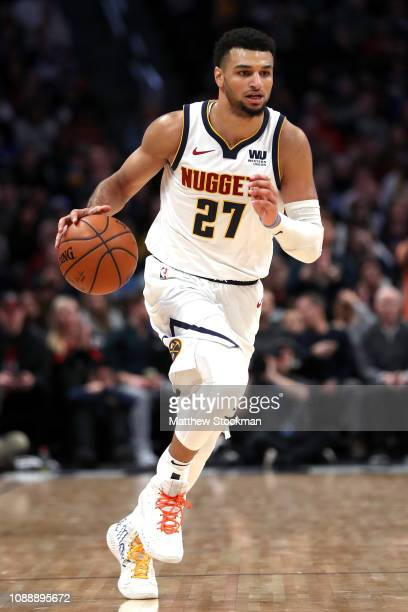 Jamal Murray of the Denver Nuggets brings the ball down the court against the New York Knicks at the Pepsi Center on January 01 2019 in Denver...