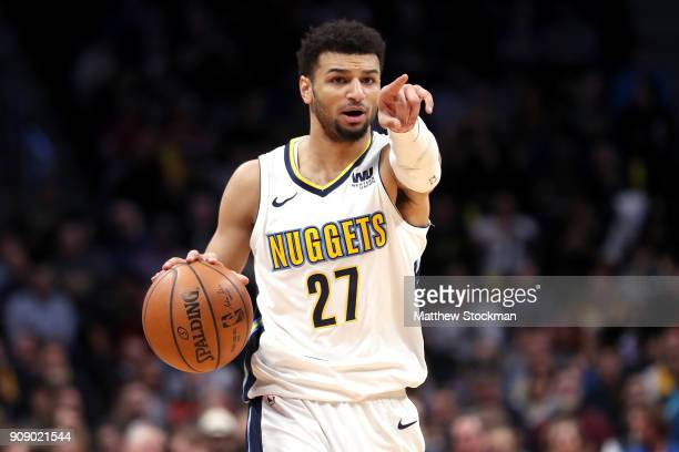 Jamal Murray of the Denver Nuggets brings the ball down the court against the Portland Trail Blazers at the Pepsi Center on January 22 2018 in Denver...