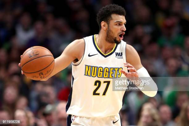 efe3cc47f Jamal Murray of the Denver Nuggets brings the ball down the court against  the Boston Celtics