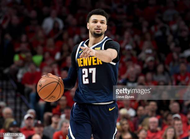 Jamal Murray of the Denver Nuggets brings the ball up the court during the second half of game four of the Western Conference Semifinals against the...