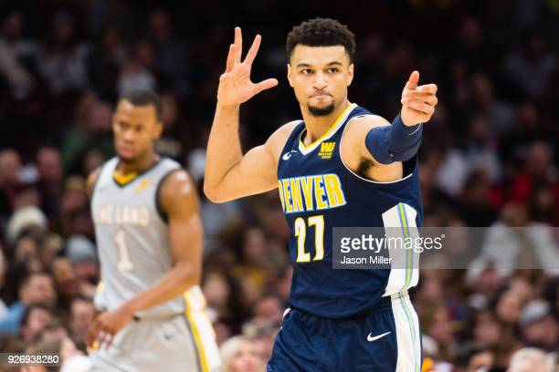 Jamal Murray of the Denver Nuggets celebrates after scoring against the Cleveland Cavaliers during the second half at Quicken Loans Arena on March 3...