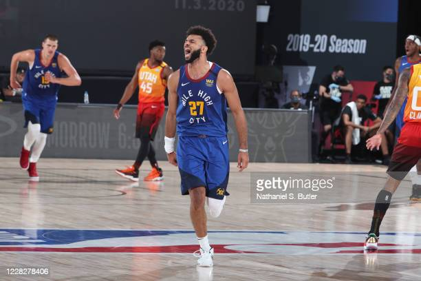 Jamal Murray of the Denver Nuggets celebrates during the game against the Utah Jazz during Round One, Game Six of the NBA Playoffs on August 30, 2020...