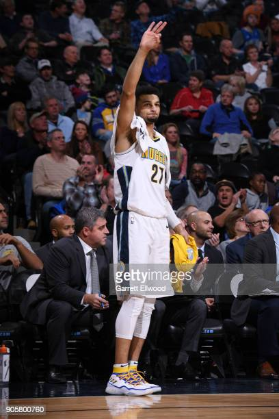 Jamal Murray of the Denver Nuggets celebrates during the game against the Dallas Mavericks on January 16 2018 at the Pepsi Center in Denver Colorado...